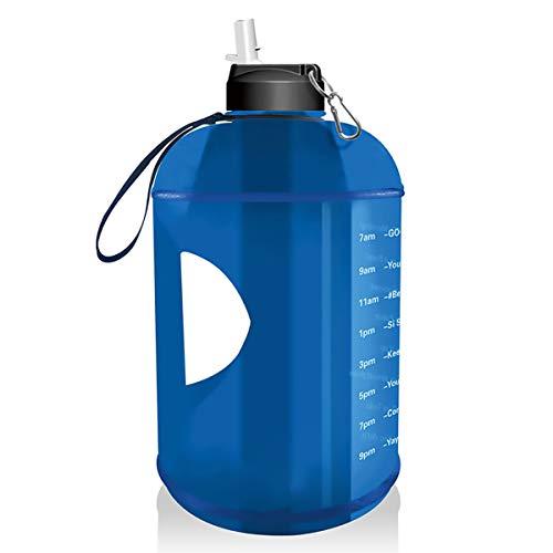 Botella de Agua de 1 galón, Botella de Agua Grande de BPA con Marca de Tiempo Motivacional. Botón a Prueba de Fugas de Fugas 3.78L Botella de Agua para Entrenamientos de Camping y al Aire Libre,Azul