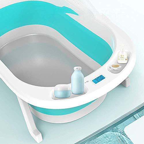 Baño plegable del bebé con exhibición de temperatura, mentira/mintiendo un cubo de baño universal,Blue