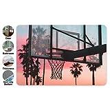 Trista Bauer Sunset Basketball Backboard Eingangstürmatte Flanell Quadrat Fußmatte rutschfeste Toilette Fußmatten Bad Teppiche 36x24 innen