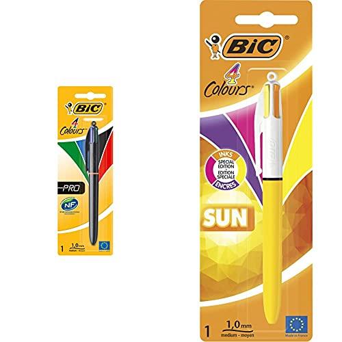 BIC 4Colours Pro–Bolígrafo, en blíster) + 4 Colores Sun Retractable Bolígrafos retráctiles, punta media (1.0 mm), colores modernos, blíster de 1 unidad
