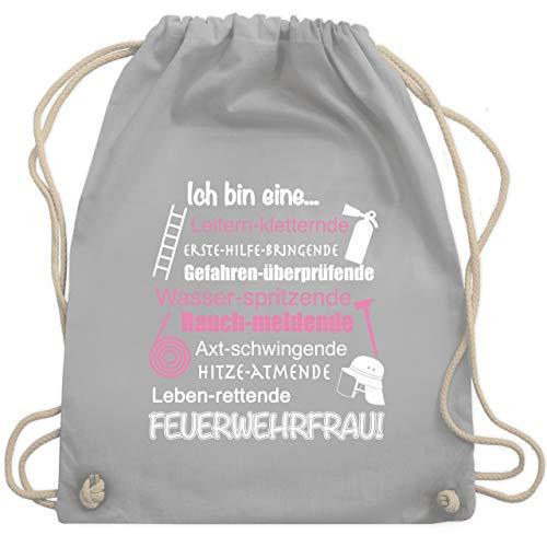 Shirtracer Feuerwehr - Ich bin eine Feuerwehrfrau! - Unisize - Hellgrau - taschen aus feuerwehrschlauch - WM110 - Turnbeutel und Stoffbeutel aus Baumwolle