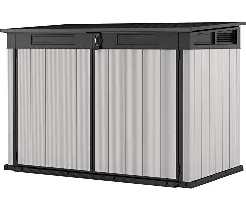 Ondis24 Keter Mülltonnenbox Premier Jumbo, Müllbox 2020L, für 3x240L Mülltonnen, 2 Fahrräder, Gartengeräte, Gartenbox belüftet, Gerätebox & Mülltonnenverkleidung