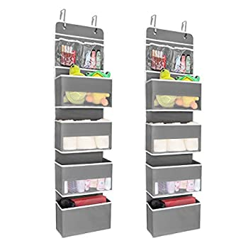 JARLINK 2 Pack 5-Shelf Over Door Hanging Organizer Wall Mount Storage for Bedroom Clear Window and PVC Pocket for Storage Cosmetics Stationery Sundries etc  Grey
