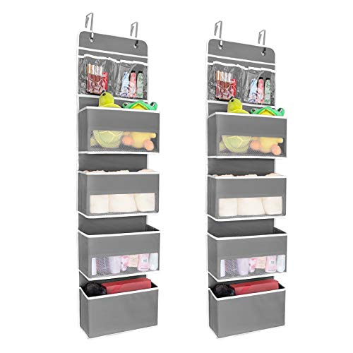 JARLINK 2 Pack 5-Shelf Over Door Hanging Organizer, Wall Mount Storage for Bedroom, Clear Window and PVC Pocket for Storage Cosmetics, Stationery, Sundries, etc (Grey)