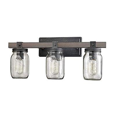 Vintage Three Light Bathroom Vanity Fixture with Glass Jar Shade
