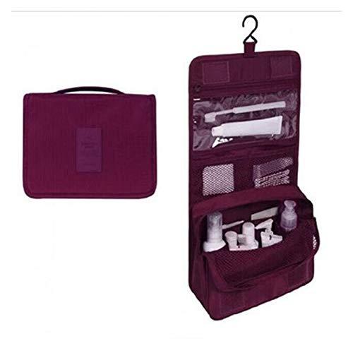 Youpin Bolsa de maquillaje de alta capacidad, bolsa de cosméticos de viaje, bolsa de almacenamiento de cosméticos, kit de viaje para mujer (color: rojo vino)