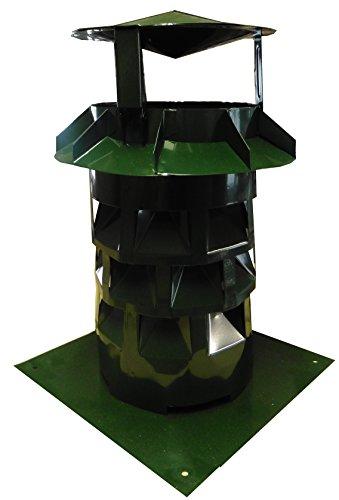 Windkat-Schornsteinaufsatz mit Grundplatte - Nennweite Ø 130 mm moosgrün