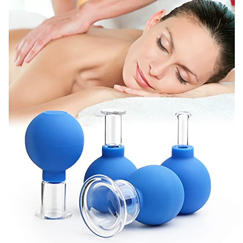 4 Stück Schröpfglas-Set mit Saugball, Glas - Silikon Massage Schröpfset für Kopfmassage Gesicht Körper Anti-Aging(4 Verschiedene Größen)