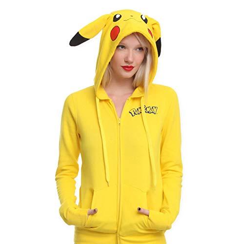 ZBSPORT Frauen Hoodie Sweatshirt Cartoon Pikachu Kapuzenpulli Langärmshirt Pullover 100% Baumwolle
