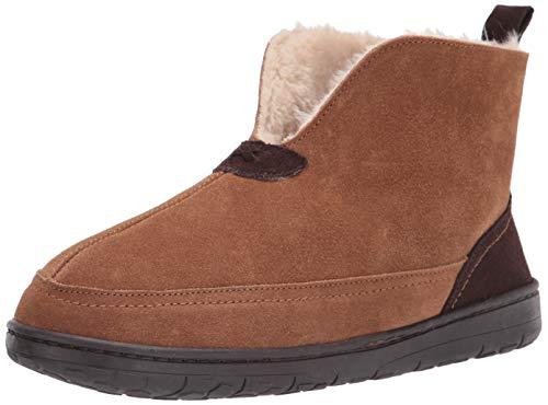 Dearfoams Men's Suede Boot Slipper, Chestnut, 10