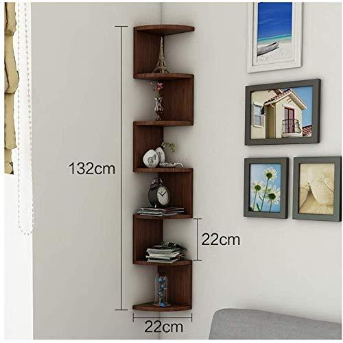 Stilvolles und Einfaches Zuhause Schwarzes Holz Wand Eckregal Bücherregal mit 7 Etagen Bücherregal...