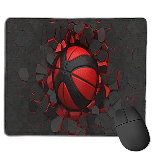 GEHIYPA Alfombrilla de ratón,Pelota de Baloncesto Negro-Rojo en la Pared a, Base de Goma Antideslizante Alfombrilla de ratón para Juegos Alfombrilla Decoración de Escritorio 9.5'x7.9