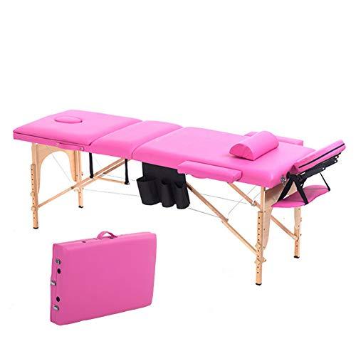 YZT QUEEN massagebed, rozerood-kleur multifunctioneel, draagbaar, in hoogte verstelbaar, inklapbaar massagebed met kussen en gereedschapstas, geschikt voor schoonheid, tatoeage enz.
