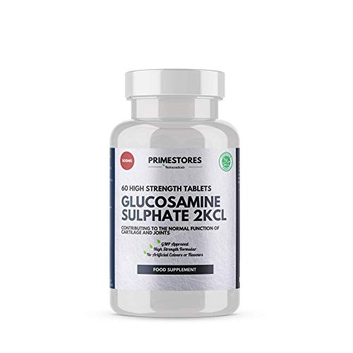 Glucosamine 2KCL 500mg - 60 Vitamin Tablets - High Strength Halal Joint Care Supplement Pills by Primestores