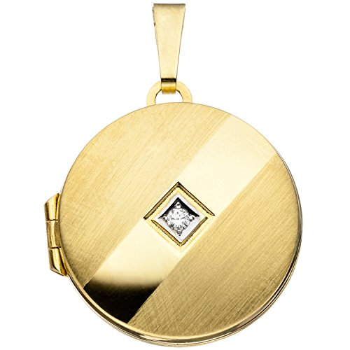 JOBO Damen-Medaillon aus 333 Gold mit Zirkonia Rund zum Öffnen für 2 Fotos