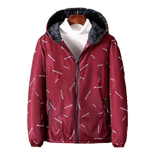 W-WENBING Herren Daunenjacke aus Baumwolle Oversized Winter Warm Hooded Jacket