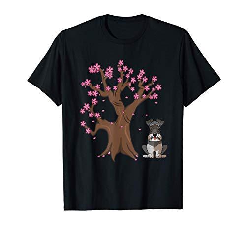 Perro Schnauzer Miniatura Love-r Sakura Flor de Cerezo Camiseta