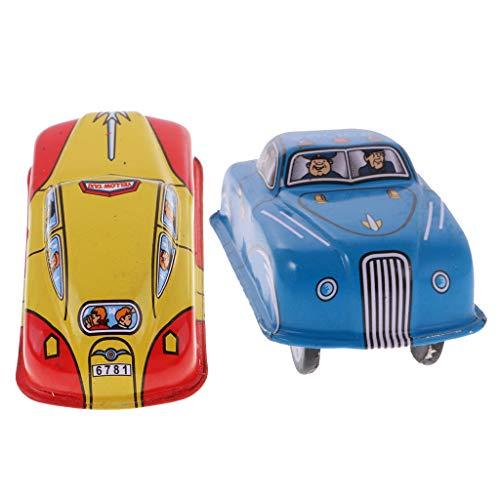 B Blesiya 2 Stück Nostalgie Blechspielzeug Taxi & Polizeiwagen Fahrzeuge klassisches Wind-up Auto Modell Spielzeug