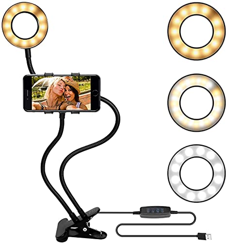 LAMTON Luz de Anillo Selfie con Soporte de teléfono Celular de Cuello de Cisne, protección de la Lectura de la protección de los Ojos con el Clip de Clip de teléfono móvil Universal Brazos Flexibles