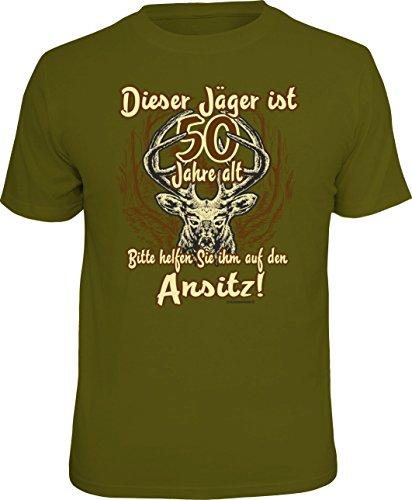 T-Shirt für den Jäger zum 50. Geburtstag: Dieser Jäger ist über 50… Größe M, Nr.1805