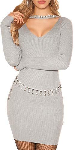 Koucla Rippstrick Minikleid Deko Strass Halsband-Effekt Dekolleté Cutout One Size (Einheitsgröße)