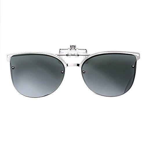 TERAISE Women\'s Clip-On Sonnenbrille Für Verschreibungspflichtige Brillen- Polarisierte Flip Up Vintage Cat Eye Sonnenbrille Für Damen Fahren