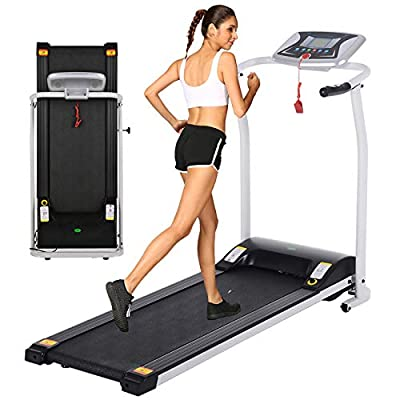 OppsDecor Folding Electric Treadmill for Home Running Machine Fitness Exercise Machine Power Motorized with Pulse Grip and Safety Key (White)