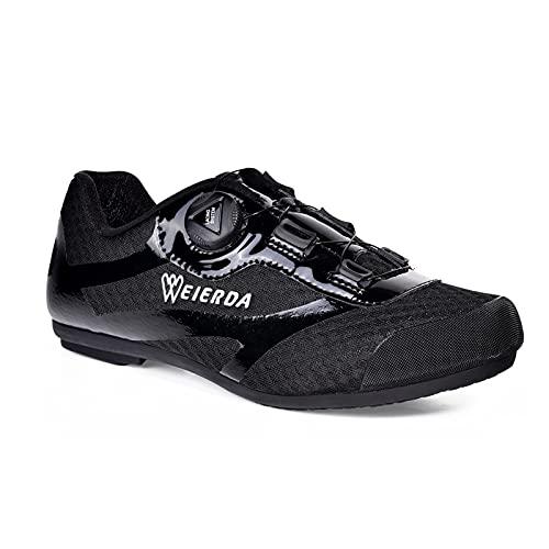 BSTL Hombre Calzado de Ciclismo Casual Sin Bloqueo Calzado para Bicicleta Malla Transpirable Anillo de Gancho Ligero Unisex Zapatillas de Interior para Ciclismo,Black-40