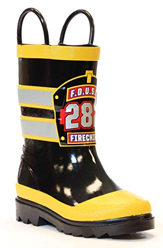 Western Chief Boys Waterproof Printed Rain Boot with Easy Pull On Handles, F.D.U.S.A, 10 M US Toddler