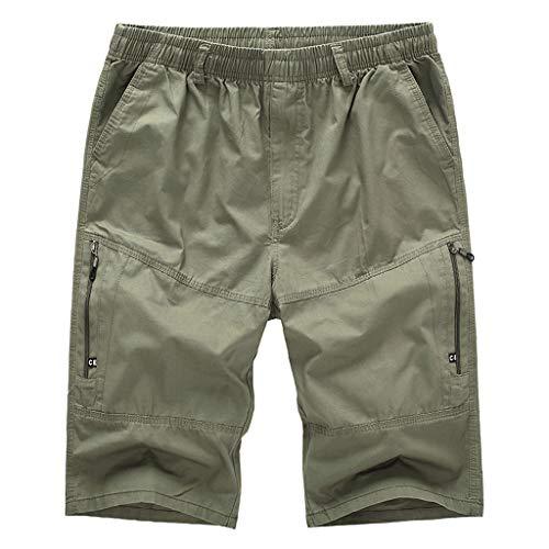 Longra Pantalón Casual de Trabajo de Playa para Hombre/Pantalones Cortos de Bolsillo de Color sólido Pantalones