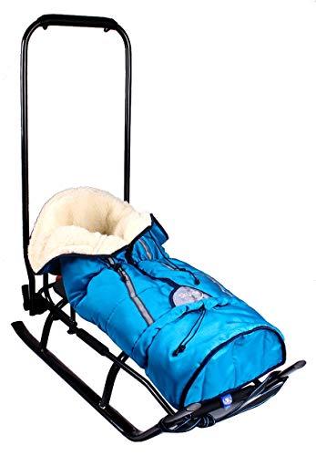 Slitta 3 in 1 per bambini con schienale, sacco per piedi, maniglia scorrevole e cinghia in alluminio (blu & grafite)