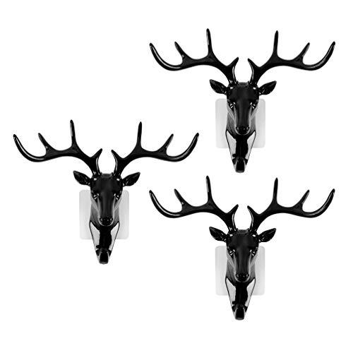 decorazione nero portachiavi Gancio da parete a forma di testa di cervo nordico portachiavi portachiavi utilizzabile per riporre chiavi autoadesivo portachiavi non marcante