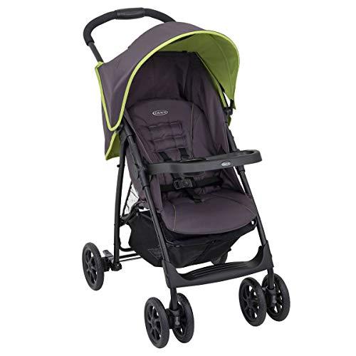 GRACO, Mirage Buggy Kinderbuggy ab Geburt bis ca. 3 Jahre 0-15 kg Kinderwagen klein zuammenklappbar leicht und wendig großer Staukorb SnackTablett verstellbare Rückenlehne, Grey Zest