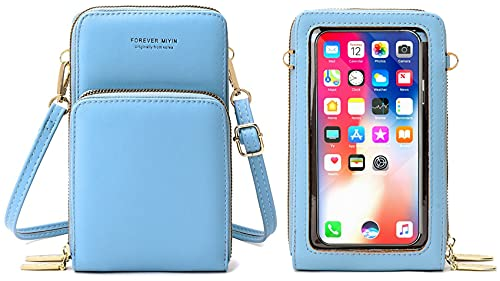 Bolso bandolera para móvil de mujer con pantalla táctil de piel sintética de poliuretano, cartera para mujer, multifunción, tarjetero con correa ajustable para la muñeca (azul claro)
