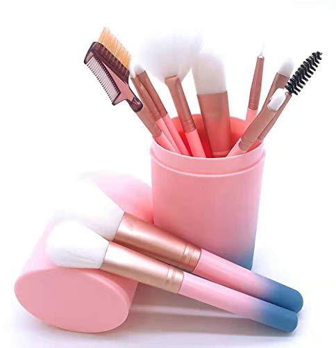 Edary Makeup Brushes 12 Sets of Cosmetic Brush Set Cylinders Gradient Handles Foundation Brush Loose Brush Eyebrow Brush Eyeliner Brush Beauty Tools (White) (Blanc)
