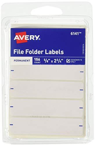 Avery Etiquetas permanentes para carpetas de archivo, 2,75 x 0,625 pulgadas, color blanco, 156 etiquetas ⭐