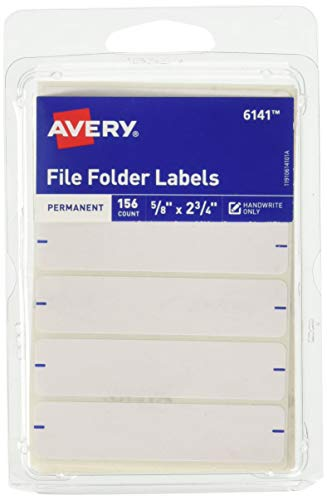 Avery Permanent File Folder Labels 2.75 x 0.625 Inches, White 156 labels