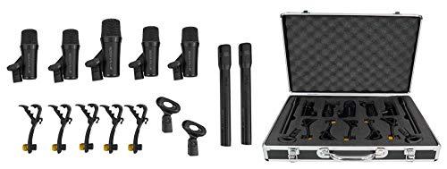 Rockville PRO-D7 7 Mic Drum Kit w/Bass+Snare+Condenser Overhead Microphones