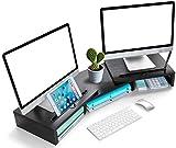 LORYERGO LORERGO Doppelmonitorständer aus Holz mit Monitoraufsteller aus Holzmaterial mit Verstellbarer Länge und Winkel 2 Extra funktioneller Slot Desktop Organizer Ständer für PC Laptop Drucker