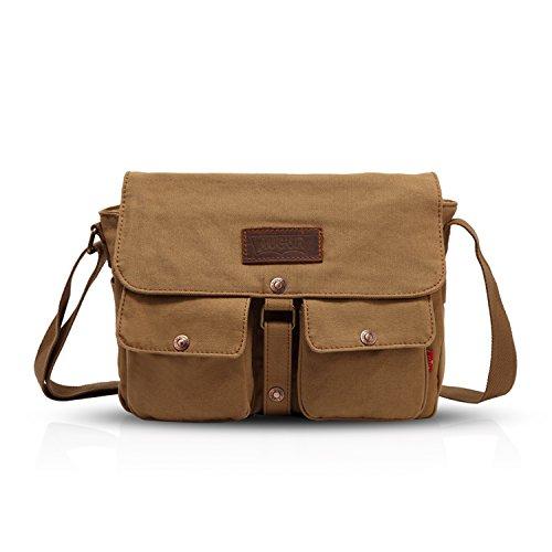 FANDARE Messenger Bag Crossbody Bolso Bandolera Shoulder Bag Portátil Estudiante Viaje Trabajo Escuela Bolsa Mensajero Lona Caqui