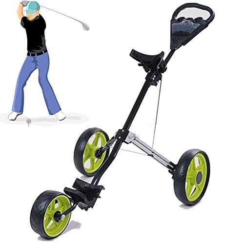 Leicht Golfwagen, Faltbar Golfwagen 3 Rad Golf Push Cart mit Telefonhalter, zum Jugendliche & Erwachsene Golfclub, Golfplatz, Sportwettbewerb