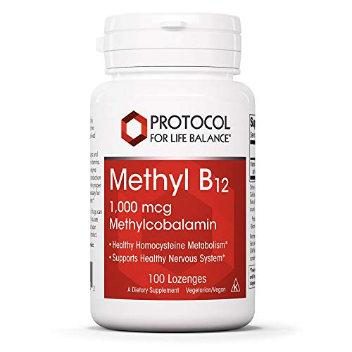 Protocol For Life Balance - Methyl B12 1,000 mcg Methylcobalamin - Supports Homocysteine Metabolism and Healthy Nervous System, Energy Boost, Cognitive Function, and Digestive System - 100 Lozenges