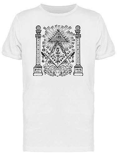 Camiseta masculina Mason Mysterious Symbols Art, Branco, 4XG
