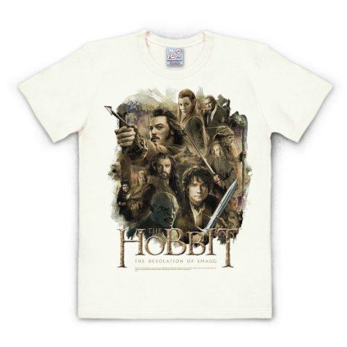 Logoshirt T-Shirt The Hobbit - The Desolation of Smaug - Filmplakat - Rundhals Shirt altweiß - Lizenziertes Originaldesign, Größe XXL