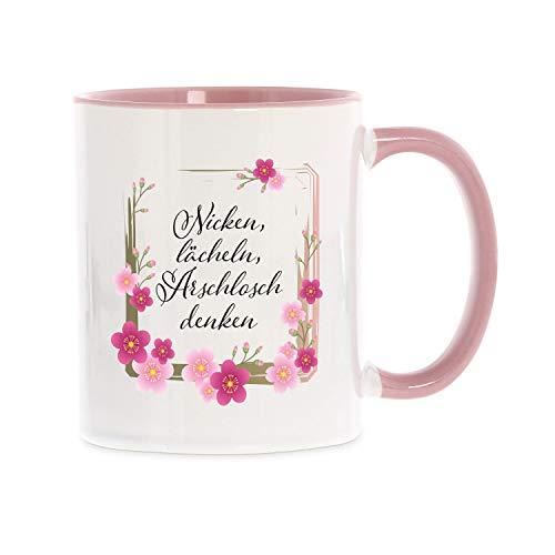 stempel-fabrik Keramiktasse Weiß mit Aufdruck - Nicken, lächeln, ARSCHLOCH denken - Kaffeetasse mit Spruch - Teetasse - Bedruckte Tasse - Geschenkideen - Büro - Arbeit - Beidseitig Bedruckt (Weiß)