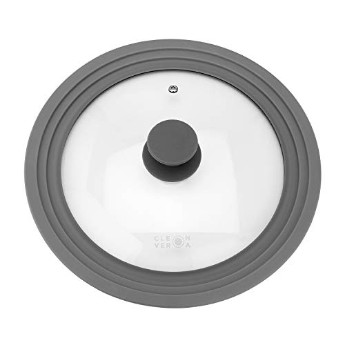 Cleverona Clever Lid, Universal Pot and Pan Lid, Extra Large fits 11, 12 and 12.5 inch Pans, Dark Grey