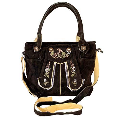 Lederhosen-Tasche Trachtentasche Dirndltasche Wildleder Dunkelbraun mit Farbiger Trachten-Stickerei