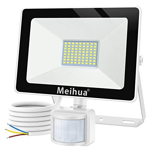 MEIHUA 60W LED Strahler mit Bewegungsmelder 6000LM Superhell LED Fluter Außenstrahler IP66 Wasserdicht Flutlichtstrahler Aluminium Scheinwerfer Licht Wandleuchte für Garten Garage Sportplatz