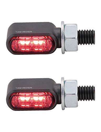 HIGHSIDER Motorrad 3in1 LED Brems-, Rücklicht Blinker Little Bronx, E-geprüft (2er-Pack) (Titan)