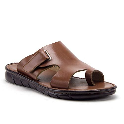 Men's 69213 Leather Slip On Peasant Toe Loop Roman Flip Flop Dress Sandals, Tan, 10.5